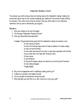 Independent Reading Contract for Secondary; Independent Book Contract