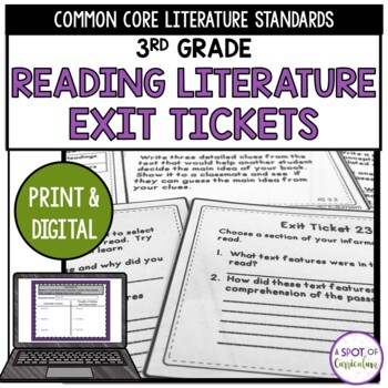 Standards Based Reading Exit Tickets: 3rd Grade Literature