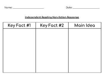 Independent Reading Fiction and Non-fiction Activity