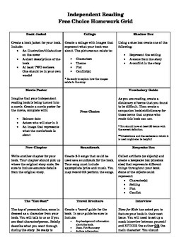 Independent Reading Free Choice Grid Projects & Scoring Rubrics
