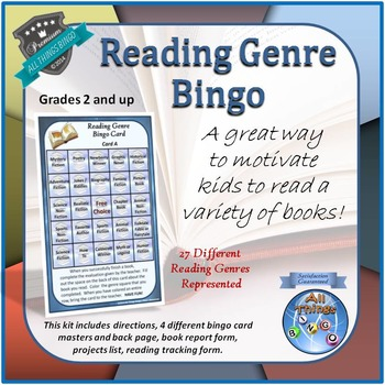 Reading Genre Bingo Game - Encourages Reading - Grades 2+