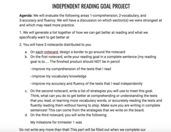 Independent Reading Goal Project: Paper assignment