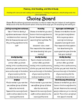 Independent Reading Goals- Choice Board
