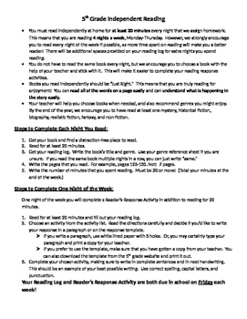 Independent Reading Home Assignment