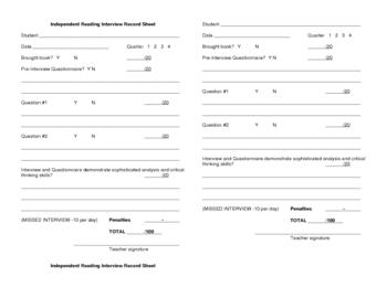 Independent Reading Interview scoring guide--Teacher handout