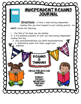 Independent Reading Journal for Reading Notebooks