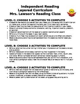 Independent Reading Layered Curriculum