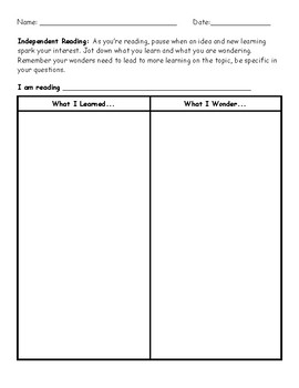 Independent Reading Learning and Wonder T-Chart