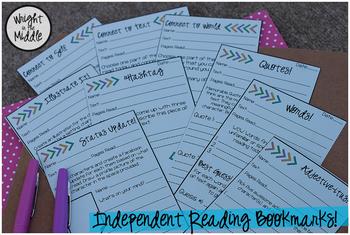 Independent Reading Log Bookmarks