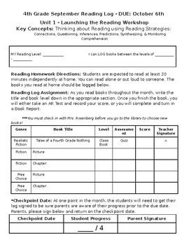 Independent Reading Log - September