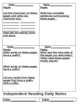 Independent Reading Log/Silent Reading Log/Reader's Response