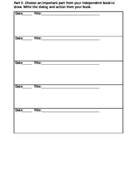 Independent Reading Log Time Tracker and Reading Response