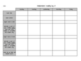 Independent Reading Log for students