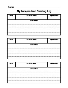Independent Reading Log with Summary
