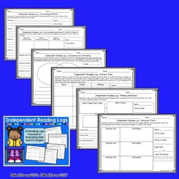 Independent Reading Logs - 25 Logs, Multiple Reading Skills & Strategies