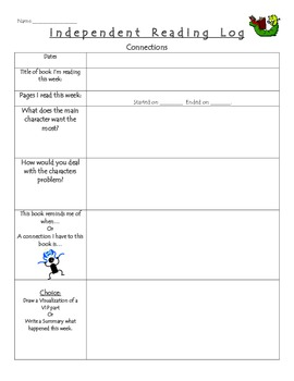 Independent Reading Logs - Weekly Reflection