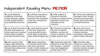 Independent Reading Menus