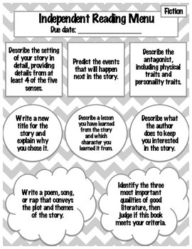 Independent Reading Menus: Differentiated, Engaging Prompts for Fiction Reading!