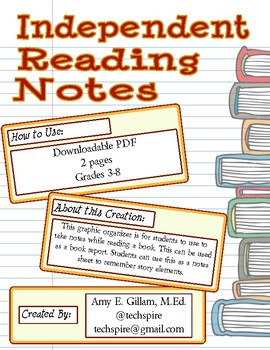 Independent Reading Notes Sheet