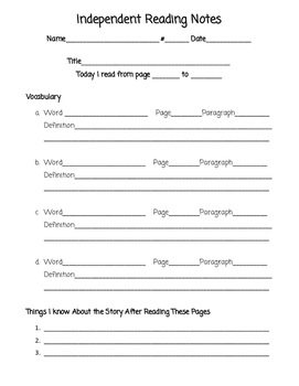 Independent Reading Notes for Third Graders