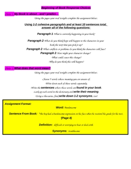 Independent Reading Packet: Log & Multiple Writing Activities
