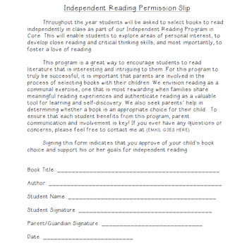 Independent Reading Permission Slip