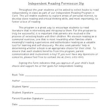 Independent Reading Permission Slip