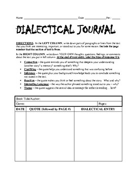 Independent Reading Program - Dialectical Journaling