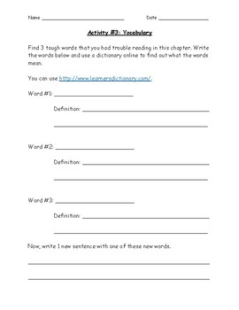 Independent Reading Project Activities Packet