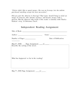 Independent Reading Project Handout For Students