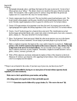 Independent Reading Project - Literary Terms, Essay & Creative