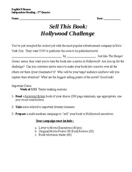 Independent Reading Project: Sell This Book - Hollywood Challenge