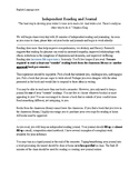 Independent Reading Project and Journal