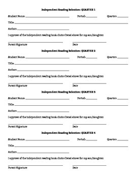 Independent Reading Project w/ Permission Slips