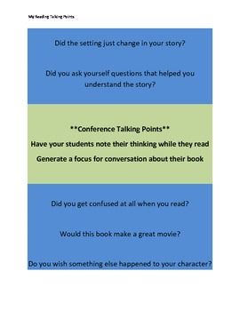 Independent Reading Questions for Accountability and Conferencing