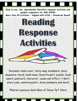 Independent Reading Response Activies and Graphic Organizers CCSS