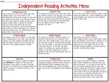 Independent Reading Response Activities Menu-Student Activity Sheets Included