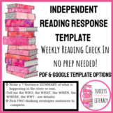 Independent Reading Weekly Reading Response Check In-Great