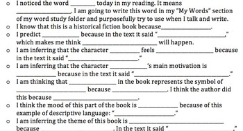 Independent Reading Response Prompts