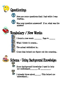 Independent Reading Response Thinking Stems
