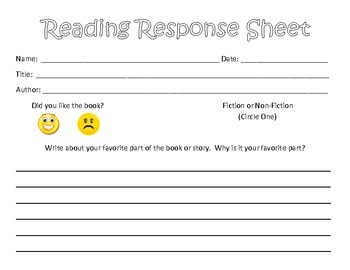 Independent Reading Response Sheet