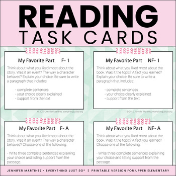 Independent Reading Response Task Cards with Response Sheets