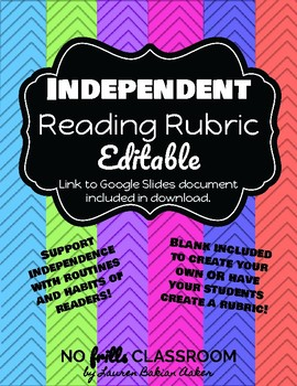 #nofrillsclassroom Independent Reading Rubric LINK included for EDITS!