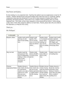 Independent Reading Rubric (SSR)