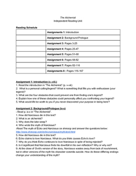 Independent Reading Schedule, Questions, and Teacher Answer Key