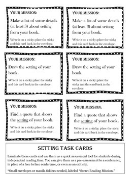 Independent Reading Mission Cards: Setting