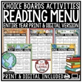 Independent Reading Choice Boards Literacy Center Activities 3rd Grade 4th Grade