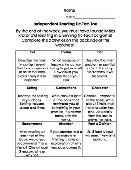Independent Reading Tic-Tac-Toe