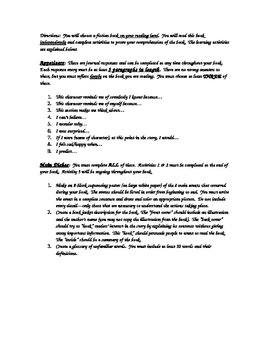 Independent Reading Time Contract and Choice Menu
