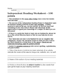 Independent Reading Worksheet